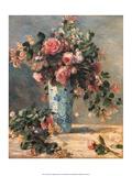 Roses & Jasmine in a Delft Vase, 1881 ポスター : ピエール=オーギュスト・ルノワール