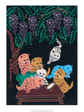 Chinese Folk Art - Cats & Kittens in the Wisteria Posters