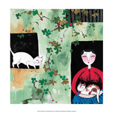 Chinese Folk Art - Cats among the Vine Creepers Pósters