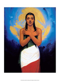 Retro Mexican Poster, Flag Girl Print