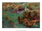 Fox Stalking Wild Ducks, 1913 Poster af Bruno Liljefors