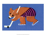 Vintage Russian Matchbox Label, Bear Playing Ice Hockey Posters