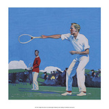 Vintage Tennis Poster, Men's Doubles Match Posters