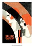 Vintage Art Deco Label, Broux Rapide, Paris Plakater