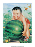 Chinese New Year Poster Baby with Huge Watermelon Lámina