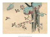 Japanese Flying Sparrows Affiches par Haruna Kinzan