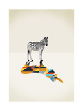 Zebra - Walking Shadows Giclée-tryk af Jason Ratliff