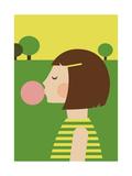 Bubblegum Girl Giclee Print by Dicky Bird