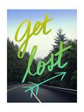 Get Lost Road Green Stampa giclée di Leah Flores