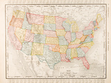 Antique Vintage Color Map United States of America, USA Fotografisk tryk af  qingwa