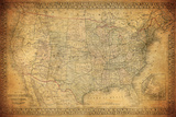 Vintage Map of United States 1867 Fotografisk trykk av  javarman