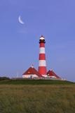 Westerhever Lighthouse, North Sea, Schleswig-Holstein, Westerheversand, Wadden Sea Photographic Print by Herbert Kehrer