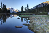 Early Morning Light Reflected on the Calm Waters of an Alpine Tarn in the Sierra Nevada Mountains W Lámina fotográfica por William Manning