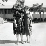 Elderly Sisters Pose on Vacation in Florida, Ca. 1966. Photographic Print by Kirn Vintage Stock