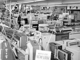 Crowded Selling Floor of Appliance Store in Chicago, Ca. 1965. Photographic Print by Kirn Vintage Stock