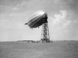 The English Airship R-100 at a Mooring in Canada, Ca. 1930. Photographic Print by Kirn Vintage Stock