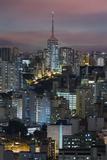 Sao Paulo Skyline at Night, Brazil. Photographic Print by Jon Hicks