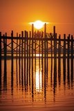U Bein Bridge on Taungthaman at Sunset Photographic Print by Jon Hicks