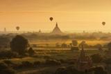 Hot Air Balloons Floating over Bagan at Dawn Photographic Print by Jon Hicks