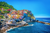 Beautiful Colorful Cityscape on the Mountains over Mediterranean Sea, Europe, Cinque Terre, Traditi Trykk på strukket lerret av Anna Omelchenko