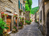Italian Street in A Small Provincial Town of Tuscan Fotografisk tryk af  Alan64