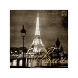 Paris At Night In Sepia Impressão giclée por Kate Carrigan