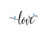 Love Blue Birds Giclée-Premiumdruck von Tara Moss