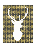 Gold Chalkboard Deer Head Poster por Tara Moss