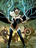 Avengers No.21 Cover: Storm, Captain America, and Iron Man Plastic Sign by Daniel Acuna