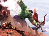 New Avengers Annual No.1: Hulk and Thor Fighting Targa di plastica di Gabriele DellOtto