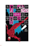 Daredevil No.1 Cover: Panels with Daredevel Jumping Plastic Sign by Paolo Rivera