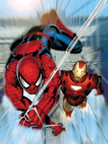 Invincible Iron Man No.7 Cover: Iron Man and Spider-Man Plastic Sign by Salvador Larroca
