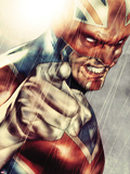 Iron Age No.1: Captain Britain Posing Plastic Sign by Lee Weeks