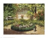 Sunlit Flower Garden Poster by Laszlo Neogrady