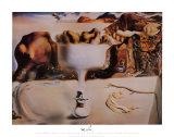 Erscheinung von Gesicht und Obstschale an einem Strand Poster von Salvador Dalí