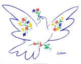 花とハト ポスター : パブロ・ピカソ