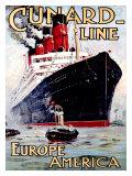 Cunard Line, Aquitania Giclee Print by Odin Rosenvinge