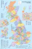 イギリスの行政地図 アートポスター