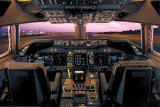 Avion, poste de pilotage d'un Boeing 747-400 Posters