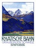 Rhatische Bahn, Schloss Tarasp Gicléetryck av Emil Cardinaux