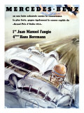 Affiche Mercedes Fangio, Grand Prix d'Italie 1954 Reproduction procédé giclée