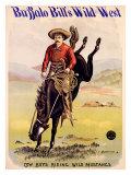 Buffalo Bill's Wild West, Cowboys Riding Wild Mustangs Giclée-Druck