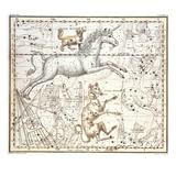 Constellations of Monoceros the Unicorn, Canis Major and Minor from A Celestial Atlas Impressão giclée por A. Jamieson
