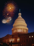 Fireworks over U.S. Capitol Photographic Print by Bill Ross