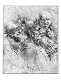 Print After a Drawing of Five Characters in a Comic Scene by Leonardo da Vinci Giclee-trykk av  Bettmann