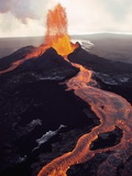 Kilauea Volcano Erupting Stretched Canvas Print by Jim Sugar