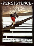 Volharding, trappen op rennen, met tekst: Persistence Posters