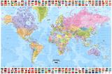 Carte du monde politique en anglais avec drapeaux Affiches