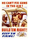 WWII, U.S. Homefront, Keep 'Em Firing Lámina giclée