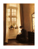 Girl Sewing in an Interior Posters av Carl Holsoe